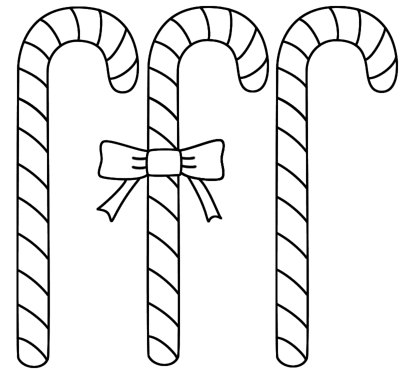 Easy To Color Candy Cane Coloring Sheets