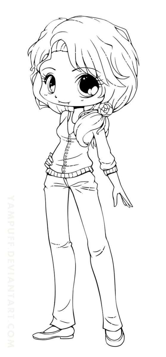 Cute Girl Coloring Pages Chibi Anime Girl Coloring Pages Simple ...