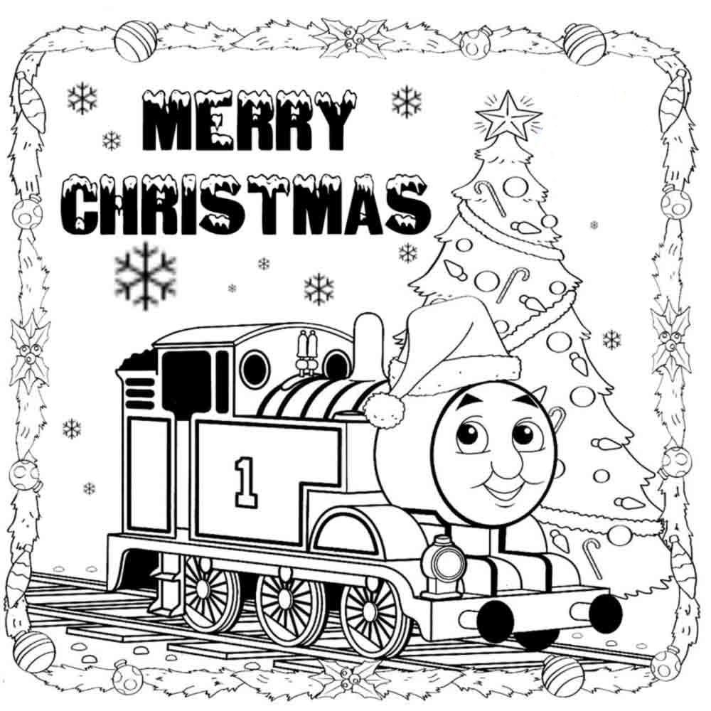 Thomas The Train Merry Christmas Coloring Pages