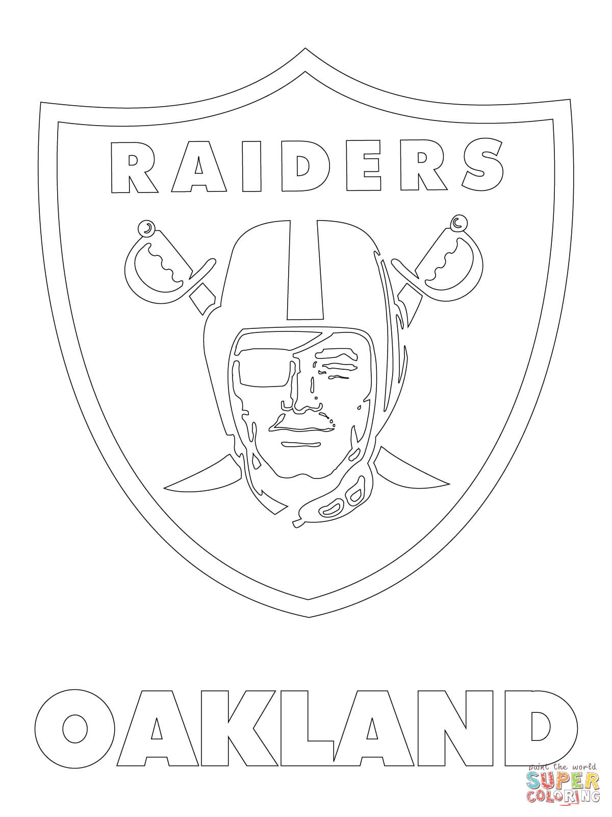 Printable coloring pages nfl logos - Oakland Raiders Logo Coloring Page Free Printable Coloring Pages