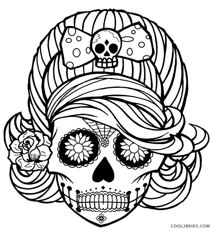 Day of the dead skulls coloring pages coloring home for Day of the dead skull coloring pages printable