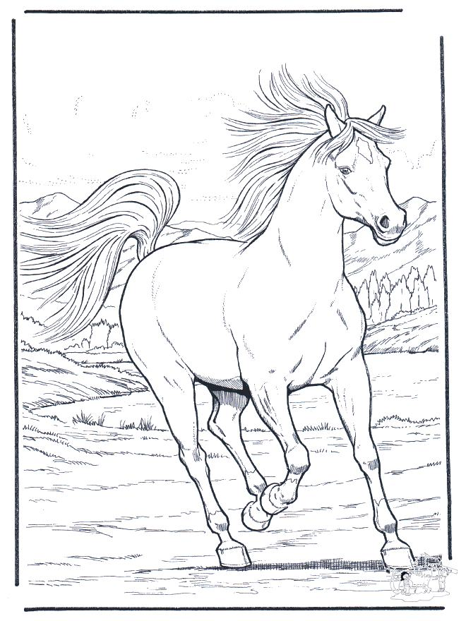 hard horse coloring pages - photo#26