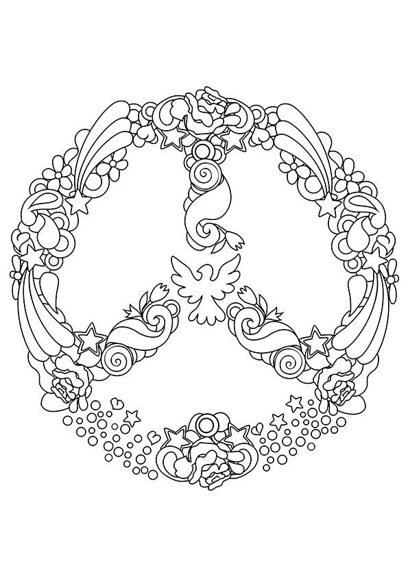 Free printable peace sign coloring pages az coloring pages for Peace sign coloring pages to print