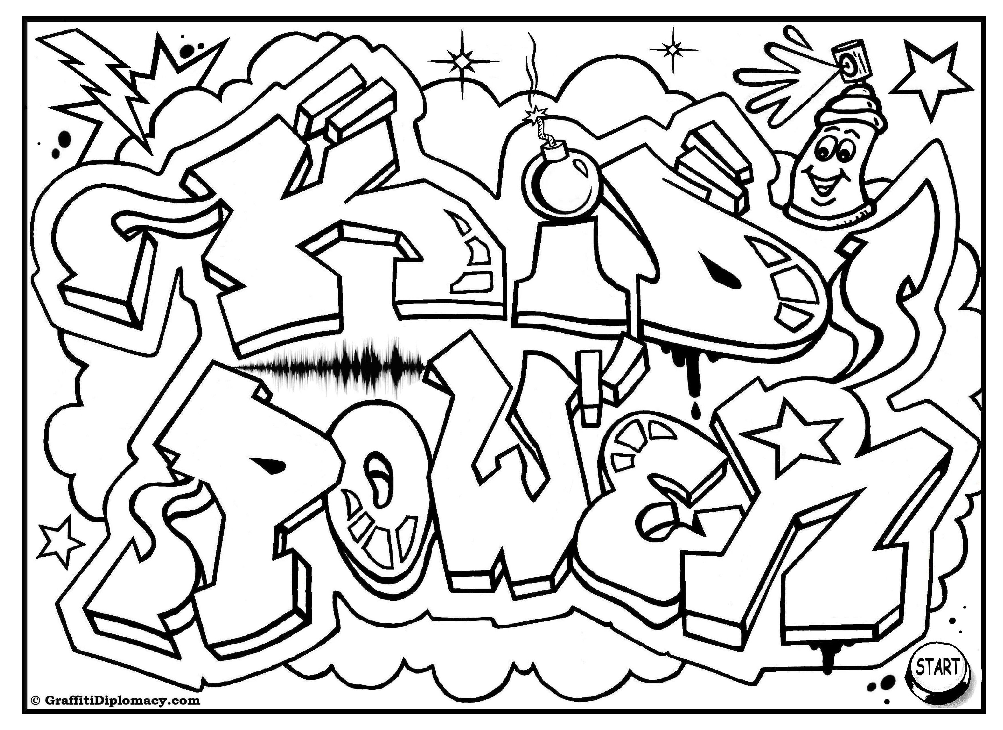 Peace Graffiti, free printable coloring page | Free Coloring Pages ...