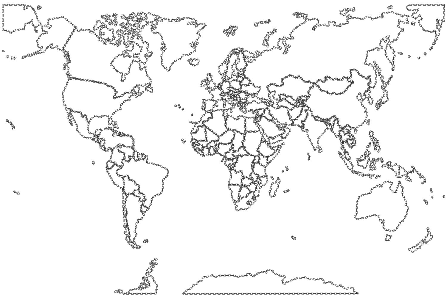 Map Of The World With Countries Coloring Page High Quality - World map no labels