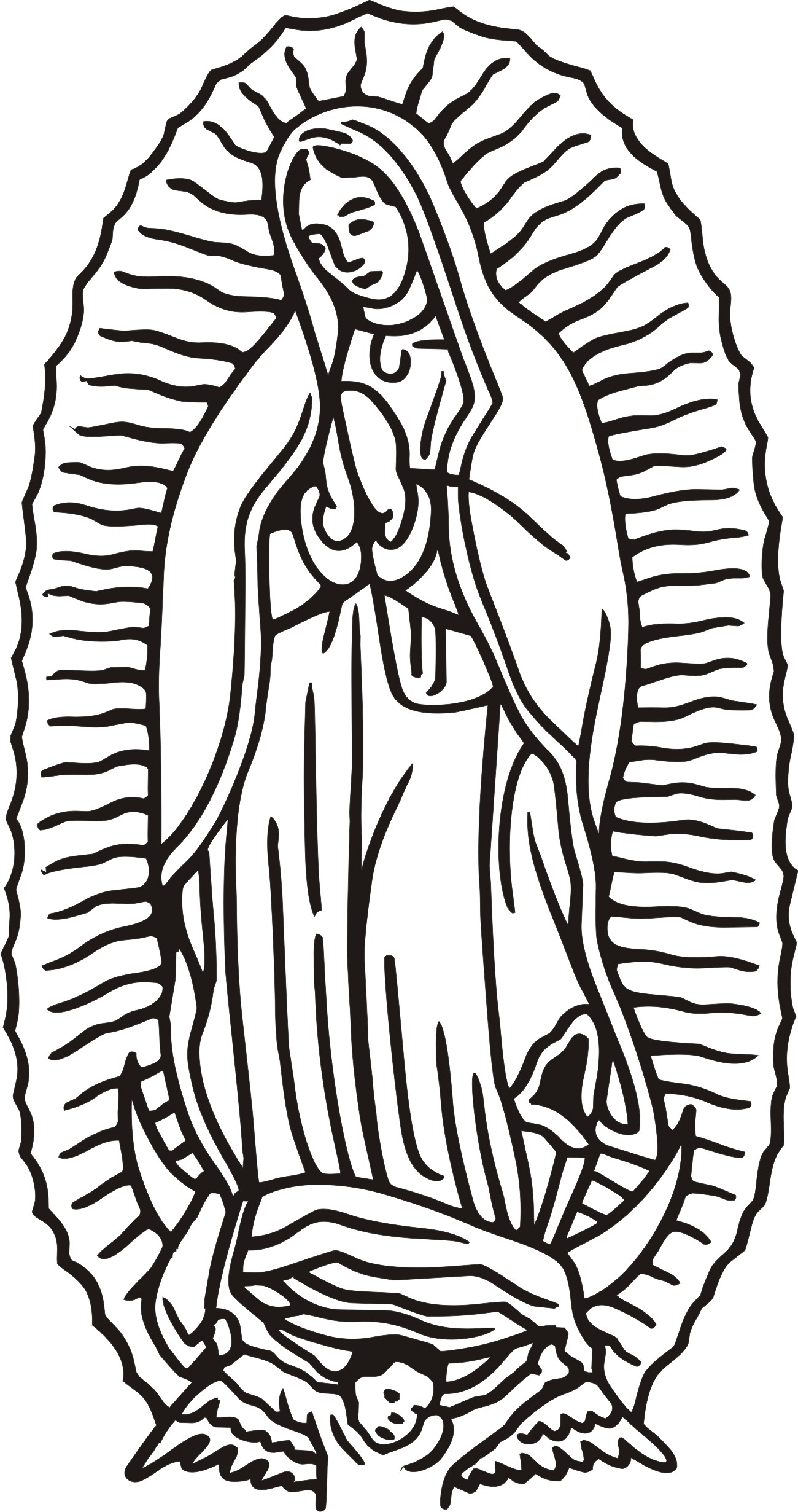 Line Drawing Lady : Our lady of guadalupe coloring page home