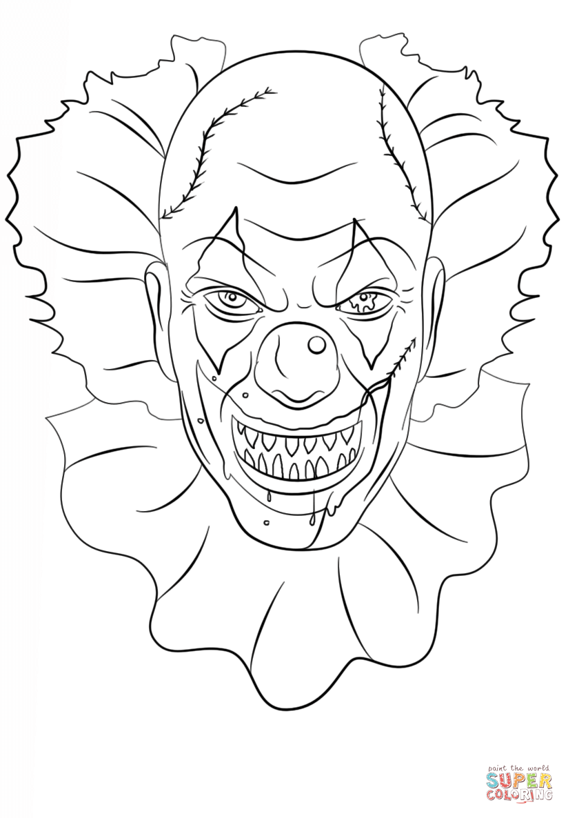 Scary Clown Coloring Pages Coloring