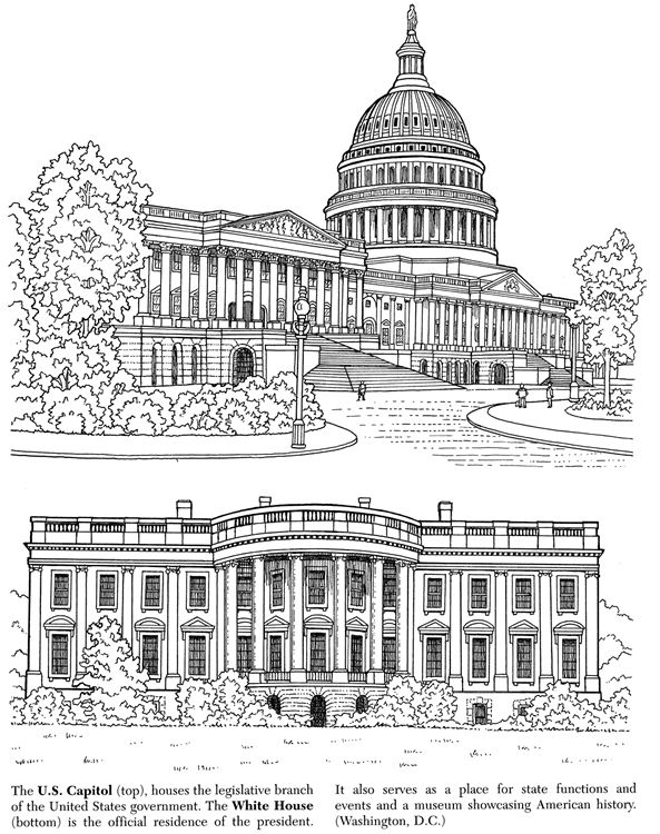 White House Coloring Page Home
