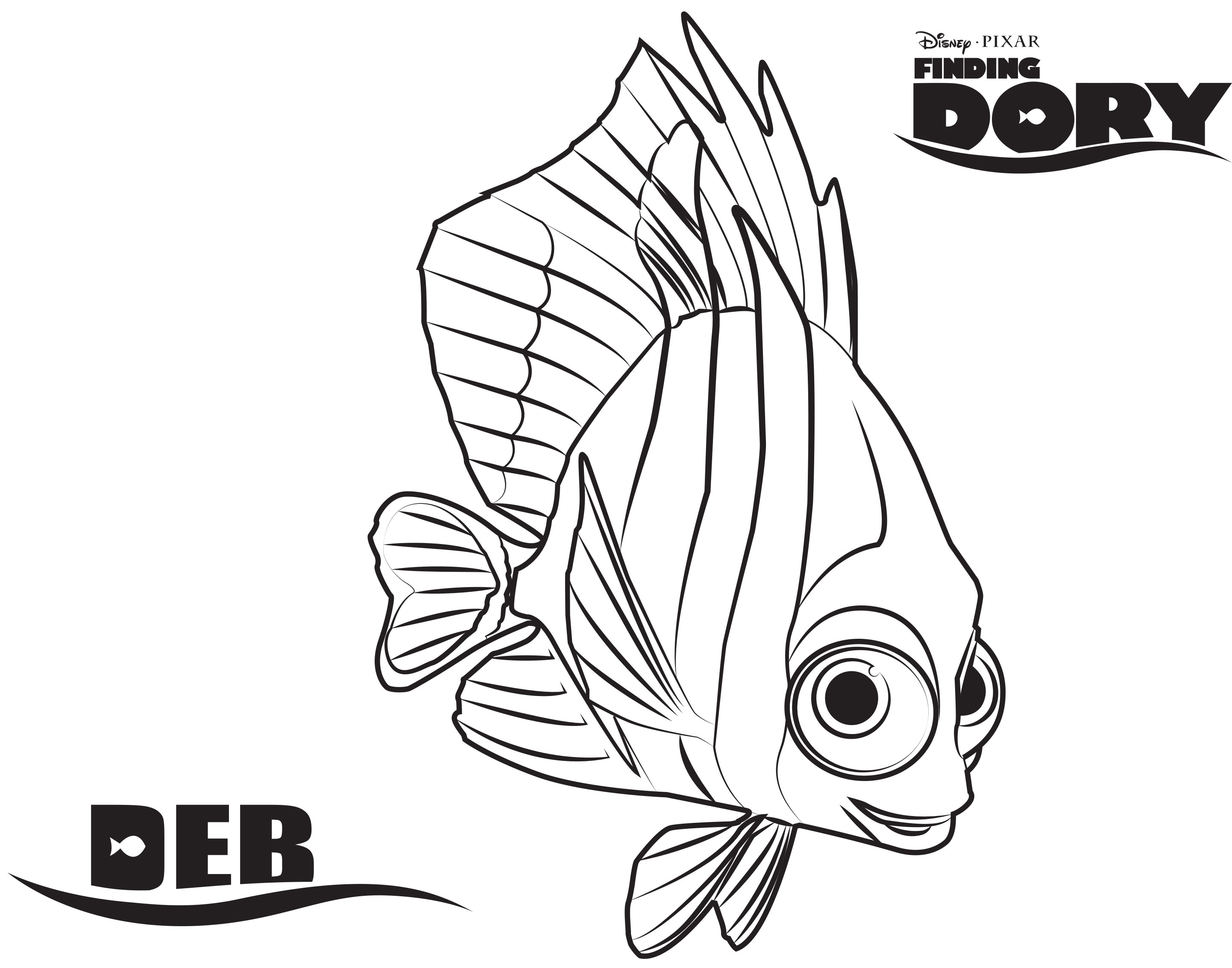 Printable coloring pages dory - Deb Disney S Finding Dory Coloring Pages Sheet Free Disney Printable