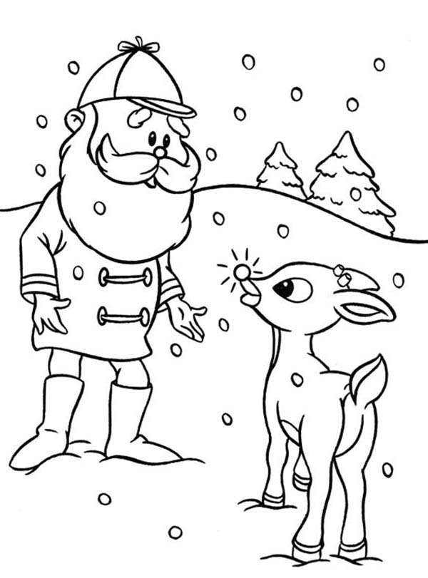 Santa Ask Rudolph the Red Nosed to Lead Other Reindeer Coloring ...
