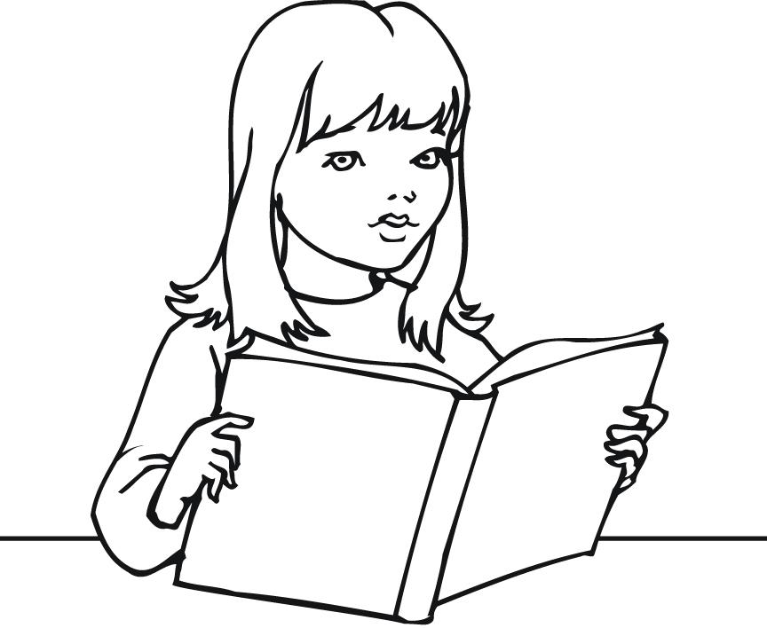 Reading A Book Coloring Page - Coloring