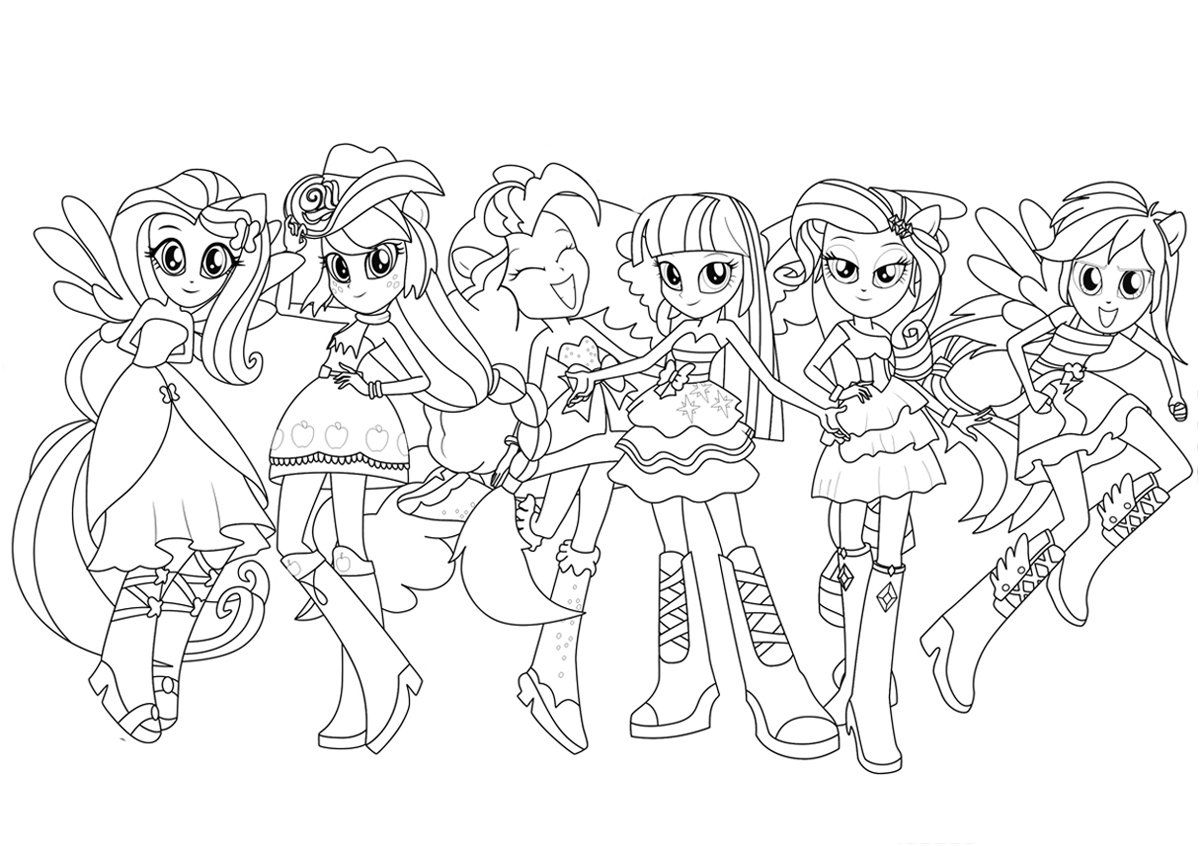 My Little Pony Human Coloring Pages Coloring Home