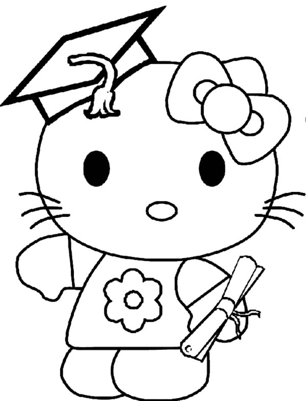 Hello Kitty Graduation Day Coloring Page