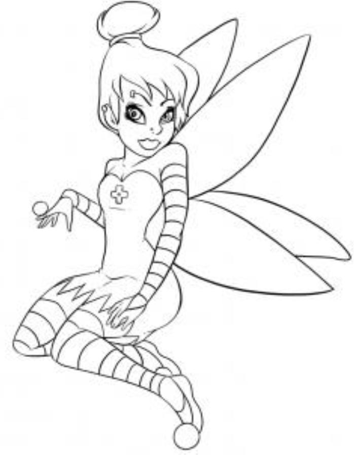 punk tinkerbell coloring pages - photo#8