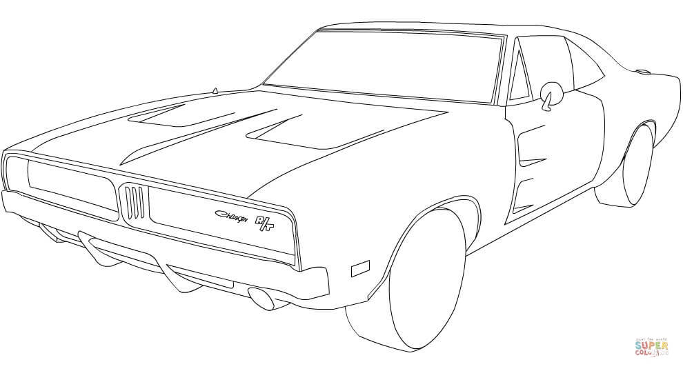 1969 dodge charger car coloring pages