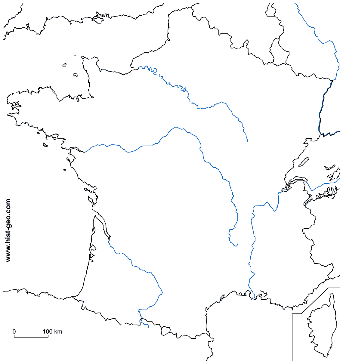 blank map of france with rivers coloring home