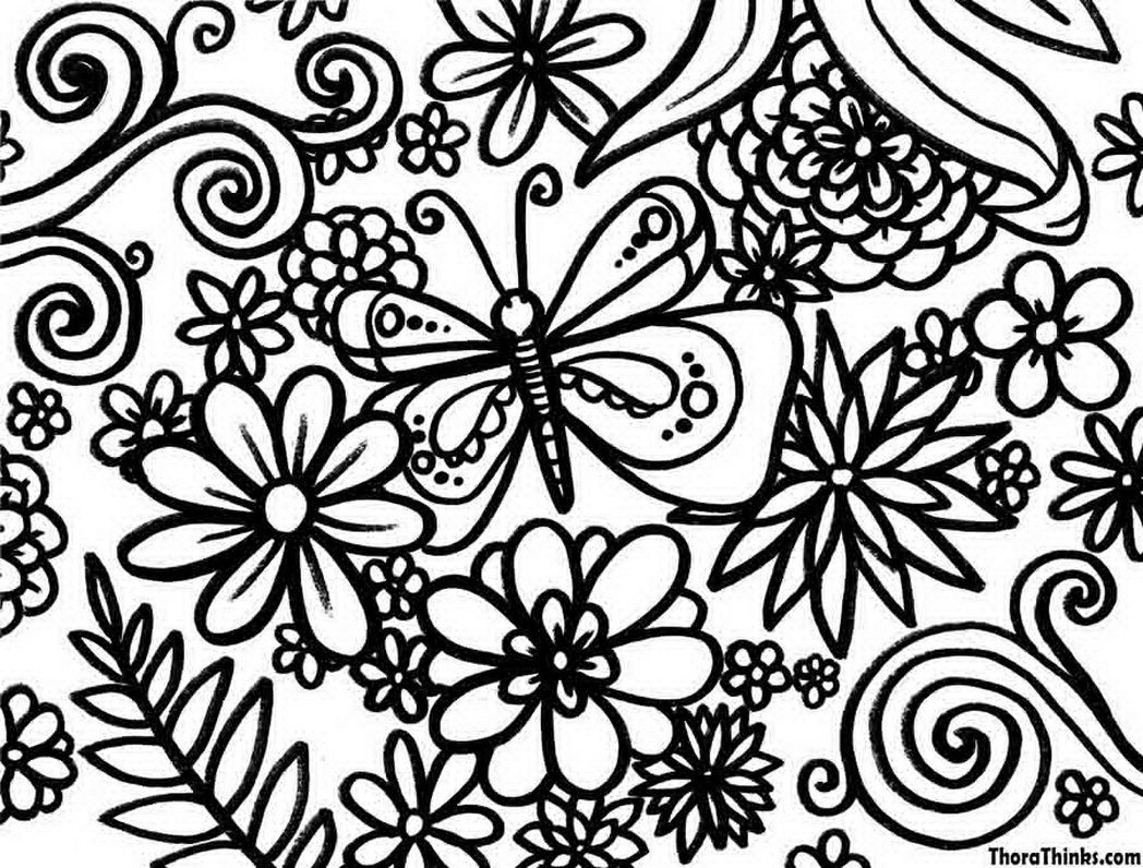 Spring coloring pages for seniors - Spring Flowers Coloring Pages Printable Pixel 587494 Coloring