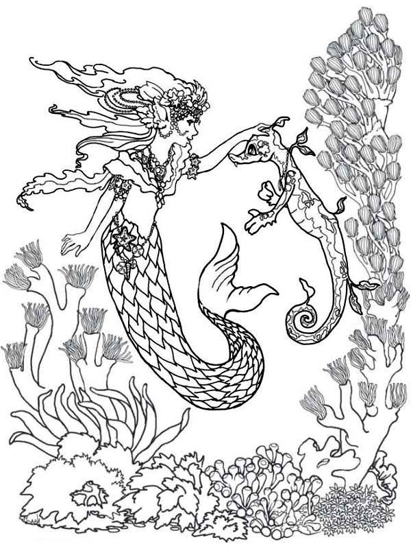 Mermaids Undersea Coloring Pages Dudeindisneycom Image
