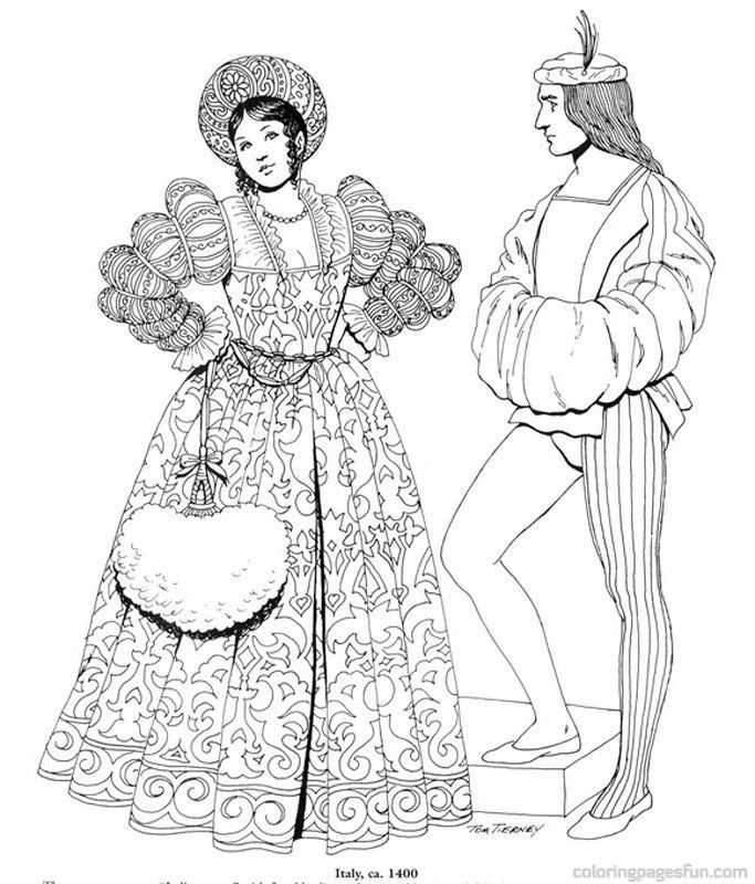 Clothing Of The Renaissance Coloring Pages - Coloring Home