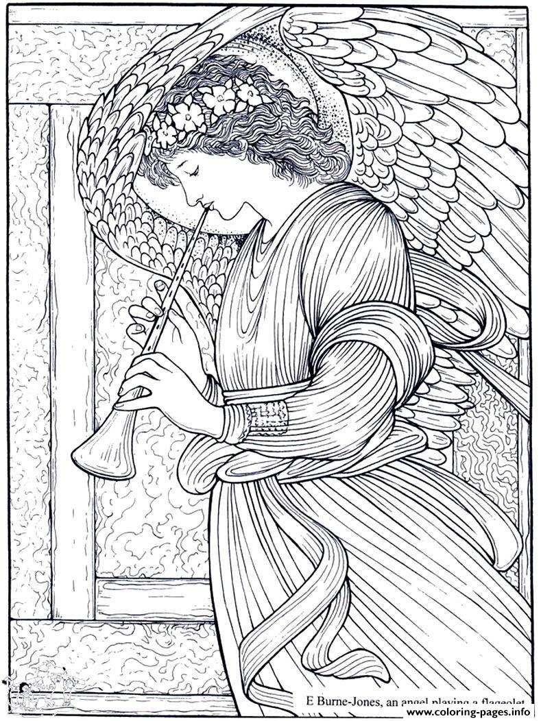 Print adult burne jones an angel playing a flageolet Coloring pages