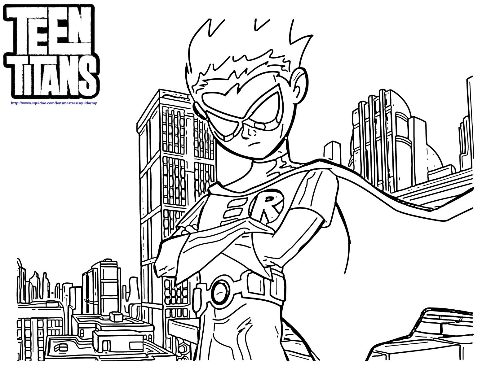 Teen Titans Go Robin Coloring Page Coloring Home