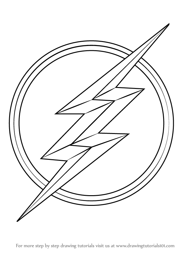 How To Draw Flash Logo Learn The Symbol Sketch Coloring Page