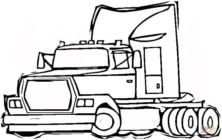 Semi Truck Coloring Pages 18 Wheeler Semi Truck Coloring Page ...
