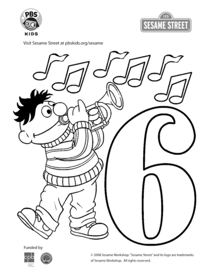The Number 6 Coloring Page | Kids Coloring… | PBS KIDS for Parents