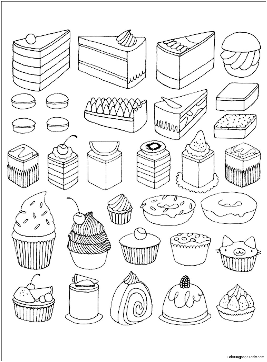 Cake Desserts Coloring Page - Free Coloring Pages Online
