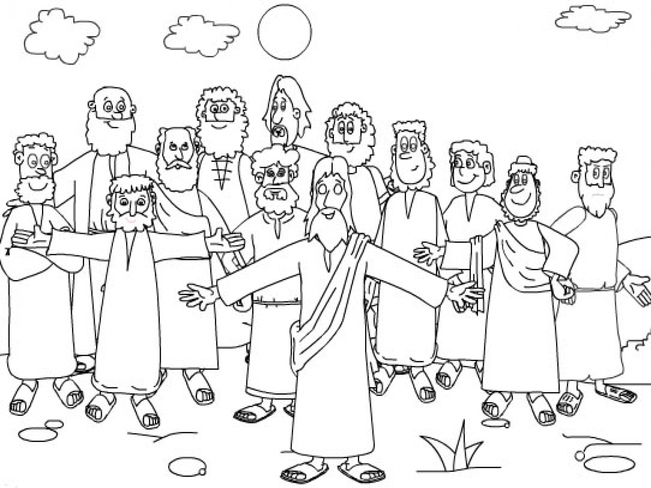 It's just an image of Old Fashioned Jesus And Disciples Coloring Page