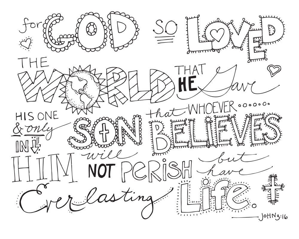 John 3:16 Coloring Pages - Coloring Home