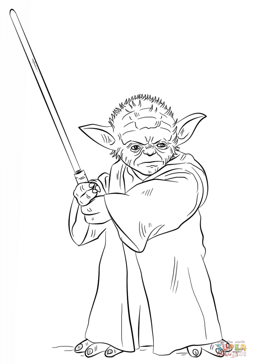 yoda with lightsaber coloring page  free printable