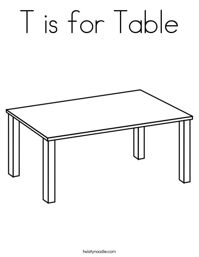T is for Table Coloring Page - Twisty Noodle