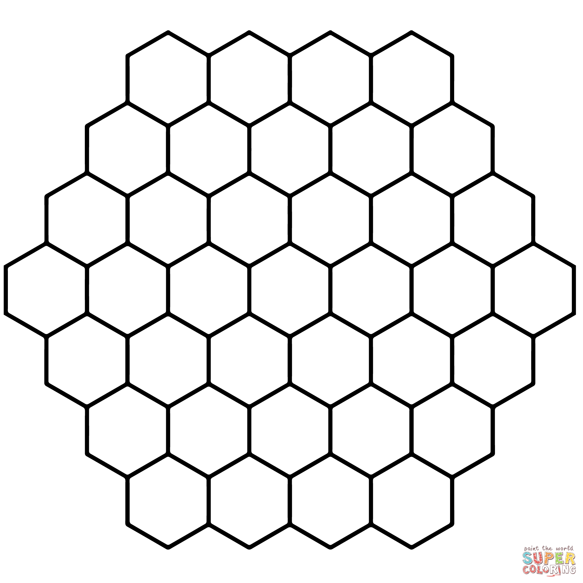 image about Printable Hexagons named Hexagon Honeycomb Tessellation Coloring Website page Free of charge
