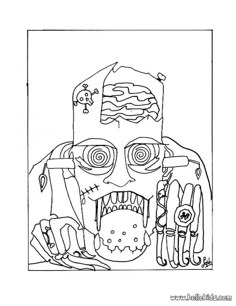 HALLOWEEN MONSTERS Coloring Pages - Scary Frankenstein ...