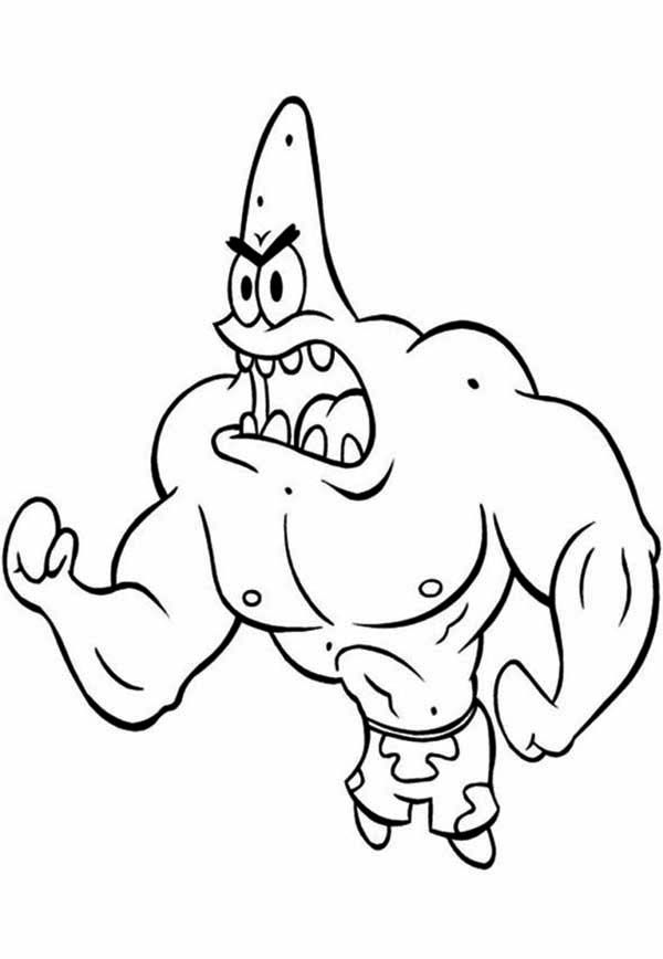 Muscled Patrick Star is Angry Coloring Page - Free & Printable ...