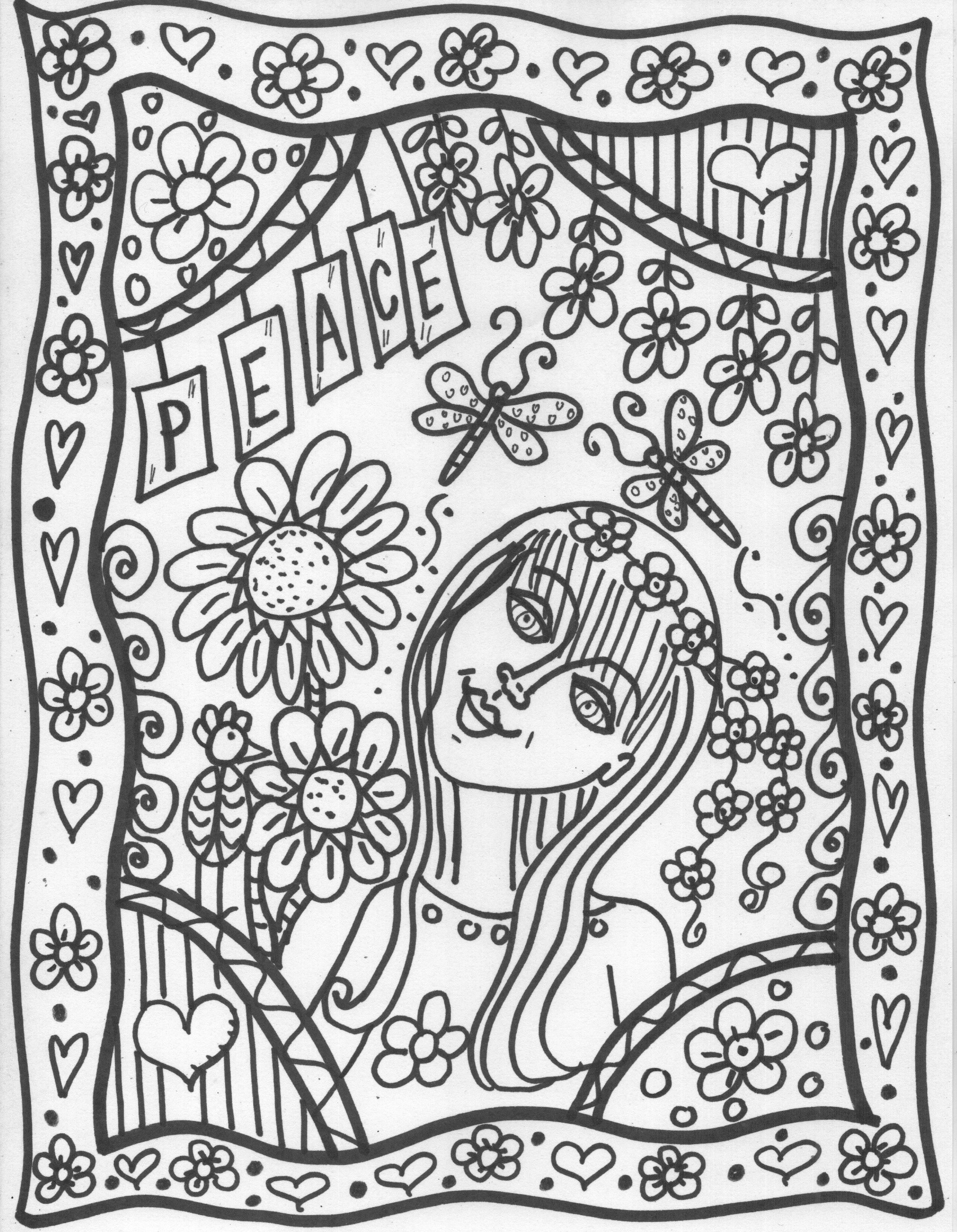 Printable Peace Love And Happiness Coloring Pages AZ