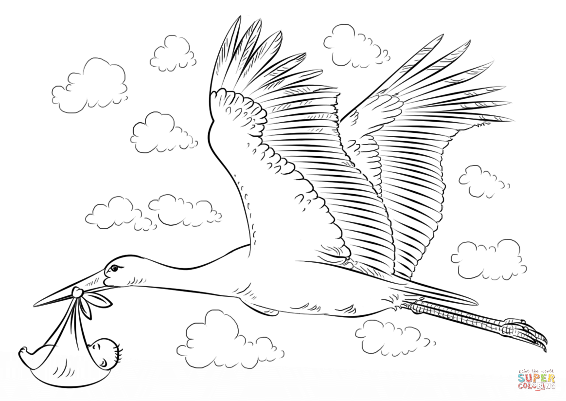 stork with baby coloring pages - photo#16