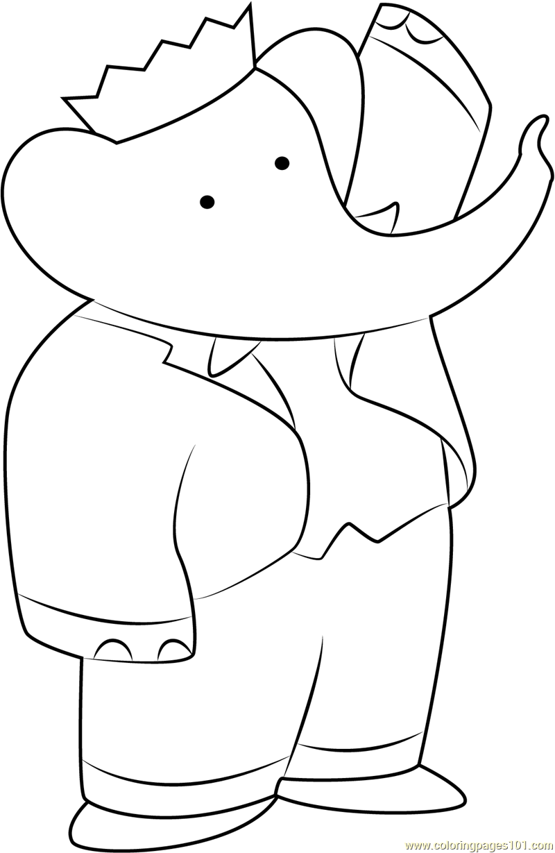 Elephant coloring pages free - Babar The Elephant Coloring Pages Coloring Home