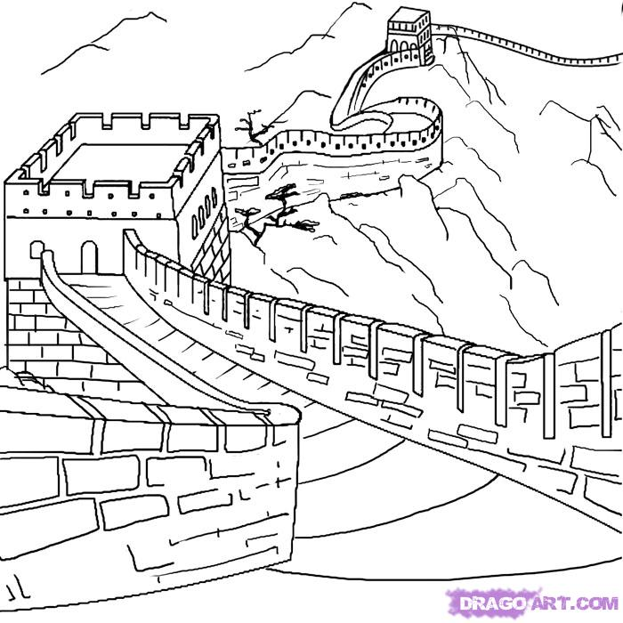 Great Wall Of China Coloring Page - Coloring Home