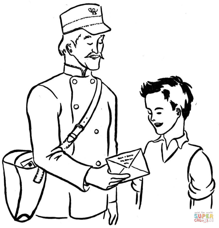 Mailman coloring page | Free Printable Coloring Pages