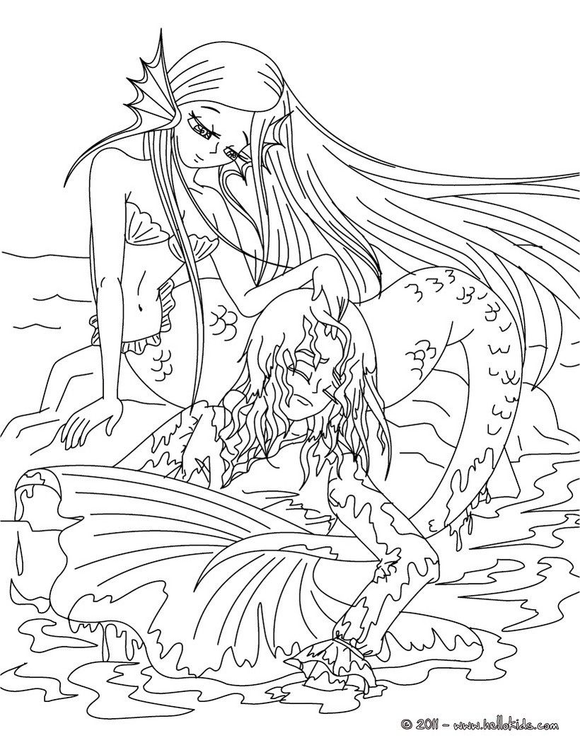 ANDERSEN fairy tales coloring pages - The Little Mermaid tale