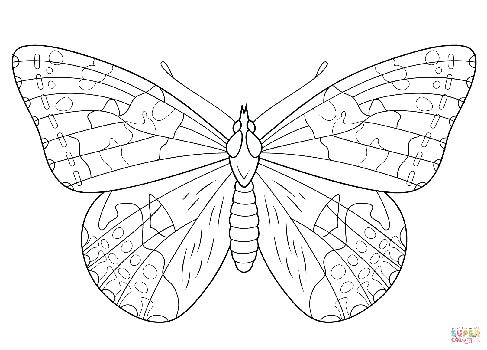coloring pages painted lady butterfly - photo#15