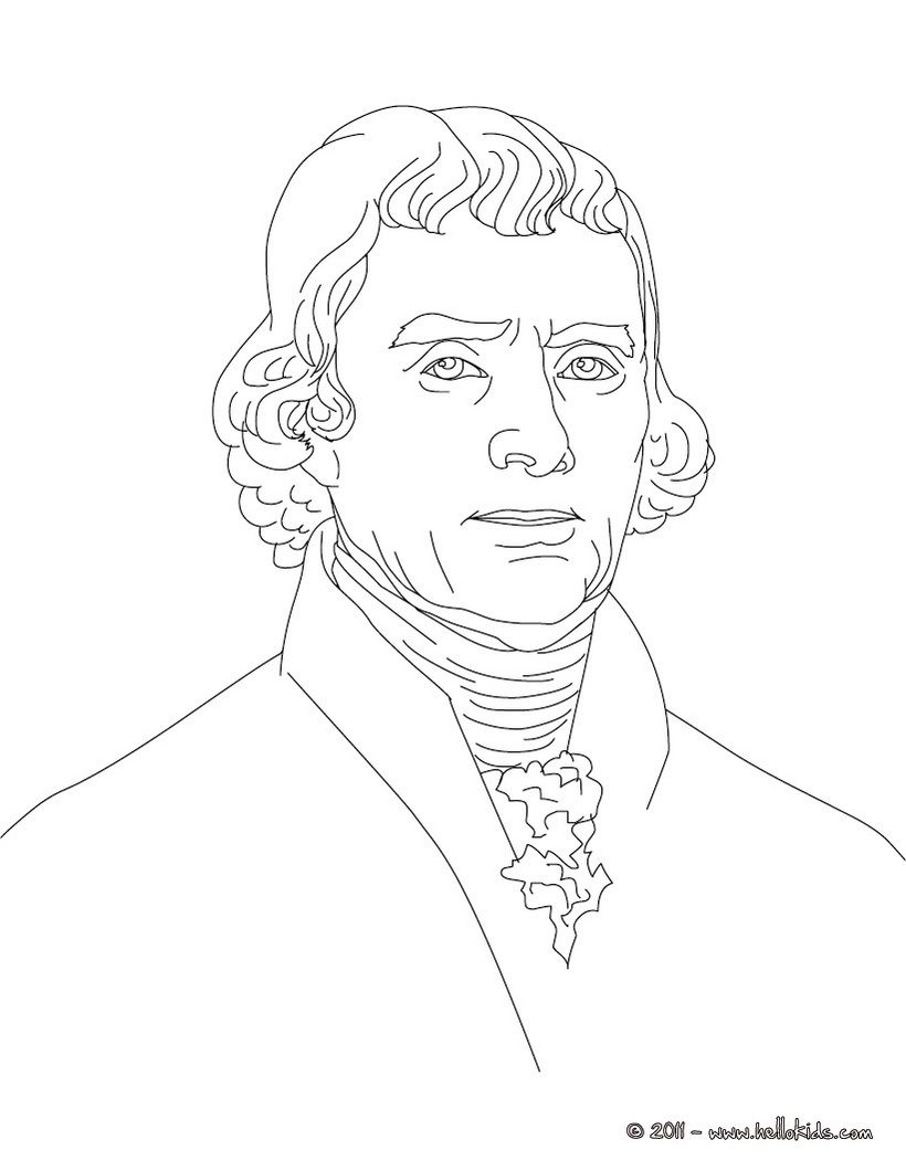 Printable Coloring Page Of Photo Of Thomas Jefferson ...
