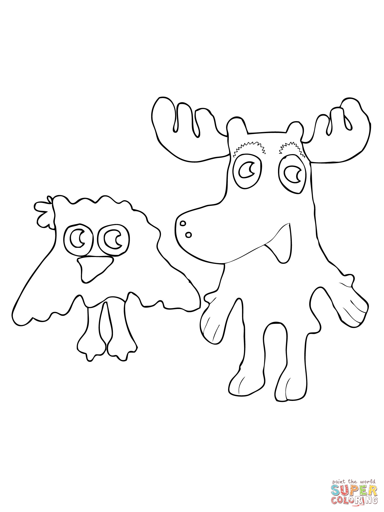 moose and zee coloring page