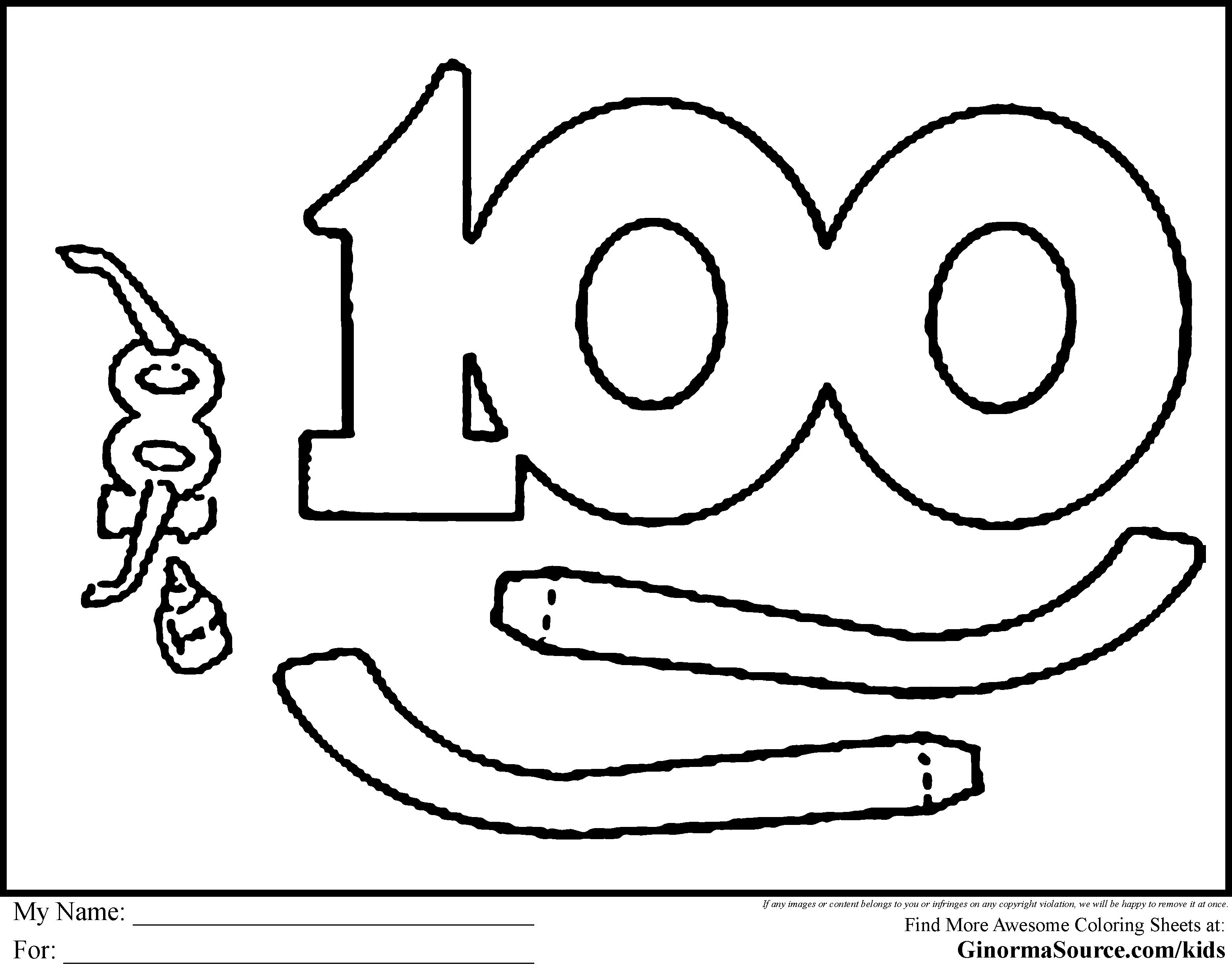 100 day coloring pages printable | 100th Day Of School Coloring Pages Free - Coloring Home