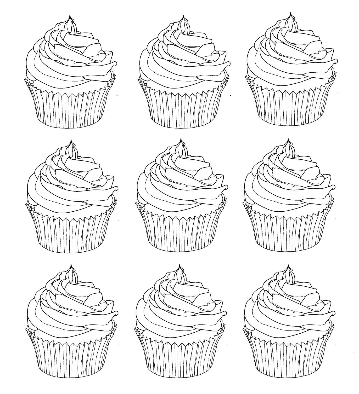 Cup Cake Coloring Pages For Adults Coloring Cupcakes Warhol Coloring Home