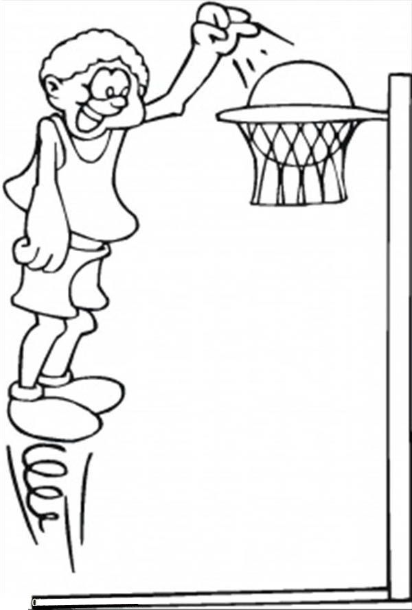 a basketball player doing a high jump to make score coloring page