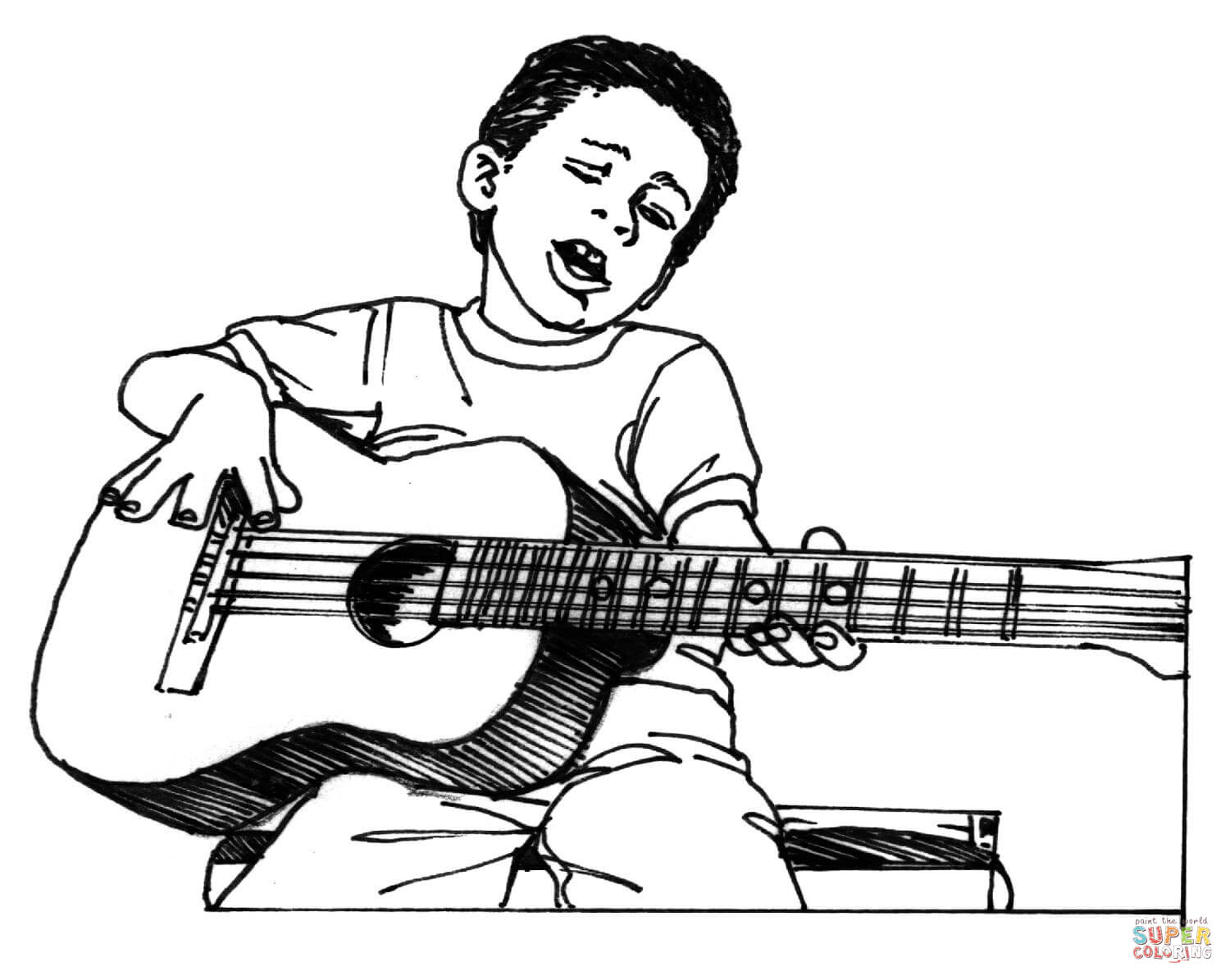 printable coloring pages guitar - photo#32