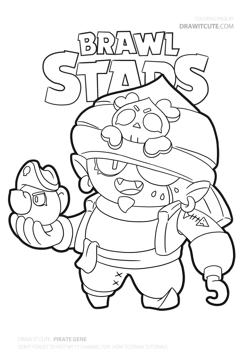 Pirate Gene | Brawl Stars coloring page - Color for fun